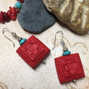 Chunky carved red turquoise earrings handmade